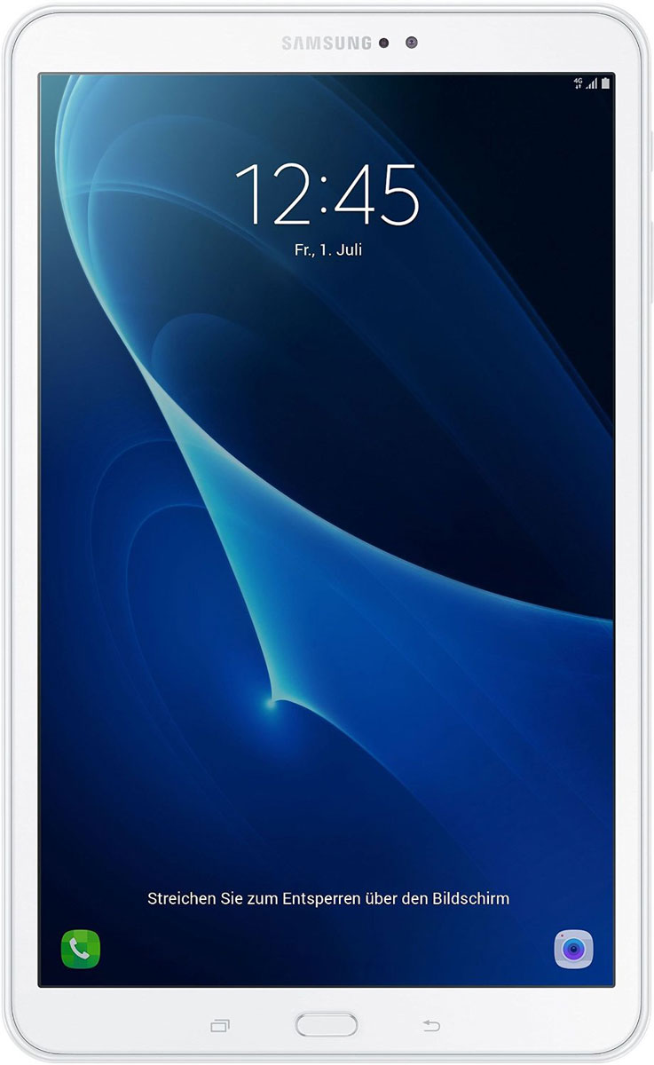 Samsung Galaxy Tab A 10.1 SM-T585, WhiteSM-T585NZWASERПланшетный компьютер Samsung Galaxy Tab A 10,1 привлекает своей компактностью в сочетании с производительностью.В тонком корпусе с классическим дизайном уместилась достойная начинка: восьмиядерный процессор Samsung Exynos 7 Octa 7870 с тактовой частотой 1,6 ГГц и 2 ГБ оперативной памяти. За качественное изображение отвечает яркий и сочный 10-дюймовый экран с разрешением 1920x1200.Удобный размер планшета позволяет использовать его с одинаковым комфортом и для чтения книг, и для интернет-серфинга, и для развлечений.Точная автофокусировка помогает основной камере 8 Мпикс справиться со съемкой движущихся предметов и получить четкий снимок. Фронтальная камера 2 Мпикс придет на помощь, если нужно сделать автопортрет.Данная модель одинаково подходит как для взрослых, так и для детей. Встроенный таймер ограничивает время, проведенное ребенком за планшетом, а разнообразный увлекательный и образовательный контент поможет малышу провести время с пользой.Встроенный аккумулятор 7300 мАч, подзаряжаемый через microUSB, по заявлению производителя способен обеспечить стабильную работу в течение дня, это примерно 10 часов.Планшет сертифицирован EAC и имеет русифицированный интерфейс, меню и Руководство пользователя.
