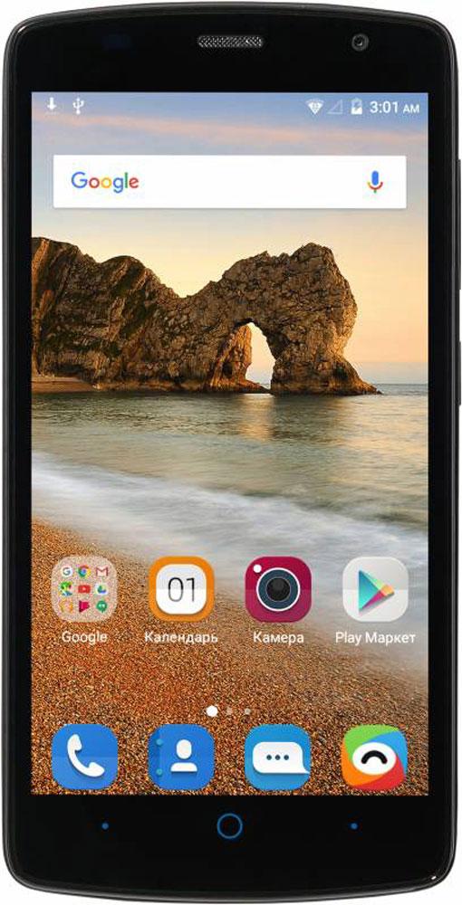 ZTE Blade L5 Plus, BlackZTE BLADE L5 PLUS BLACKСмартфон Blade L5 Plus – благодаря большому 5-дюймовому HD-дисплею является отличным решением для пользователя, который нацелен на повседневное чтение электронных книг, просмотр интернет-страниц, видео и фото.Наличие большого 5-дюймого HD-дисплея с разрешением 1280х720, выполненного по технологии IPS, предоставляет возможность пользователю комфортно просматривать интернет-страницы, читать электронные книги и смотреть медиа-контент без потери качества изображения и цветопередачи.Четрырехъядерный процессор MediaTek MT6580 и 1 ГБ оперативной памяти обеспечивают скорость в обработке повседневных задач и плавную работу приложений.Корпус смартфона Blade L5 Plus изготовлен из качественного текстурированного поликарбоната, который максимально неприхотлив в повседневном использовании, в течение долгого времени сохранит первоначальный вид и будет удобно лежать в руке.Управление смартфона осуществляется на базе операционной системы Android 5.1, которая комфортна и интуитивно доступна любому современному пользователю, а также обеспечивает стабильную работу любых доступных приложений.Смартфон обладает слотом для установки двух сим-карт – разделяйте личные и рабочие звонки, выбирайте удобные тарифы в поездках и пользуйтесь интернетом независимо от вашего места нахождения.Телефон сертифицирован EAC и имеет русифицированный интерфейс меню, а также Руководство пользователя.
