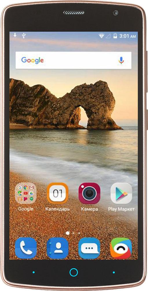 ZTE Blade L5 Plus, GoldZTE BLADE L5 PLUS GOLDСмартфон Blade L5 Plus - благодаря большому 5-дюймовому HD-дисплею является отличным решением для пользователя, который нацелен на повседневное чтение электронных книг, просмотр интернет-страниц, видео и фото.Наличие большого 5-дюймого HD-дисплея с разрешением 1280х720, выполненного по технологии IPS, предоставляет возможность пользователю комфортно просматривать интернет-страницы, читать электронные книги и смотреть медиа-контент без потери качества изображения и цветопередачи.Четрырехъядерный процессор MediaTek MT6580 и 1 ГБ оперативной памяти обеспечивают скорость в обработке повседневных задач и плавную работу приложений.Корпус смартфона Blade L5 Plus изготовлен из качественного текстурированного поликарбоната, который максимально неприхотлив в повседневном использовании, в течение долгого времени сохранит первоначальный вид и будет удобно лежать в руке.Управление смартфона осуществляется на базе операционной системы Android 5.1, которая комфортна и интуитивно доступна любому современному пользователю, а также обеспечивает стабильную работу любых доступных приложений.Смартфон обладает слотом для установки двух сим-карт - разделяйте личные и рабочие звонки, выбирайте удобные тарифы в поездках и пользуйтесь интернетом независимо от вашего места нахождения.Телефон сертифицирован EAC и имеет русифицированный интерфейс меню, а также Руководство пользователя.