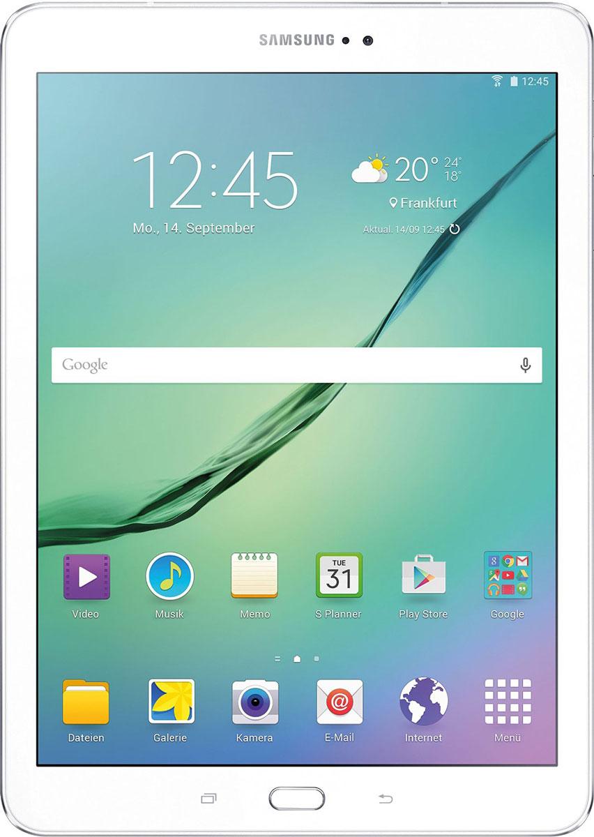 Samsung Galaxy Tab S2 SM-T813, WhiteSM-T813NZWESERПланшет Samsung Galaxy Tab S2 выполнен из цельно металлического корпуса с толщиной всего 5.6 миллиметров и по праву является самым тонким планшетом в мире. При весе всего 389 грамм и диагональю 9.7 дюймов является еще и самым лёгким в своём сегменте. Стоит отметить и форм-фактор дисплея, с соотношение сторон 4:3, с таким дисплеем гораздо комфортнее пользоваться социальными сетями и интернет браузером или просто читать книгу.Планшет Samsung Galaxy Tab S2 обладает потрясающим SuperAMOLED дисплеем с разрешением 2048x1536 пикселей. Восьмиядерный процессор с чистотой 1,9 ГГц , 3 гигабайта оперативной памяти и 32 встроенной, которую можно увеличить картой памяти microSD до 128 гигабайт. Основная камера, делает отличные фото даже при слабом освещении, благодаря 8 мегапикселям и светосилы 1.9, а фронтальная, 2.1 мегапикселя для скайпа и селфи. Для зашиты персональных данных воспользуйтесь инновационным сканером отпечатка пальцев. Или блокируйте планшет по отпечатку. Чтобы разблокировать, просто прикоснитесь с кнопке Home.Планшет Samsung Galaxy Tab S2 работает под мобильной операционной системой Android 5.0, Lollipop, которая обеспечивает работу сразу в нескольких приложениях на одном экране. Для работы с офисными документами на планшете уже установлен пакет Microsoft Office, который работает со всеми стандартными документами. Для более длительной работы вы можете использовать режим максимально энергосбережения и продлить работу планшета в несколько раз. Планшет имеет режим специально предназначенный для детей, в котором вы можете ограничь доступ к файлам и приложениям, а так же ограничить время работы.Планшет сертифицирован EAC и имеет русифицированный интерфейс, меню и Руководство пользователя.