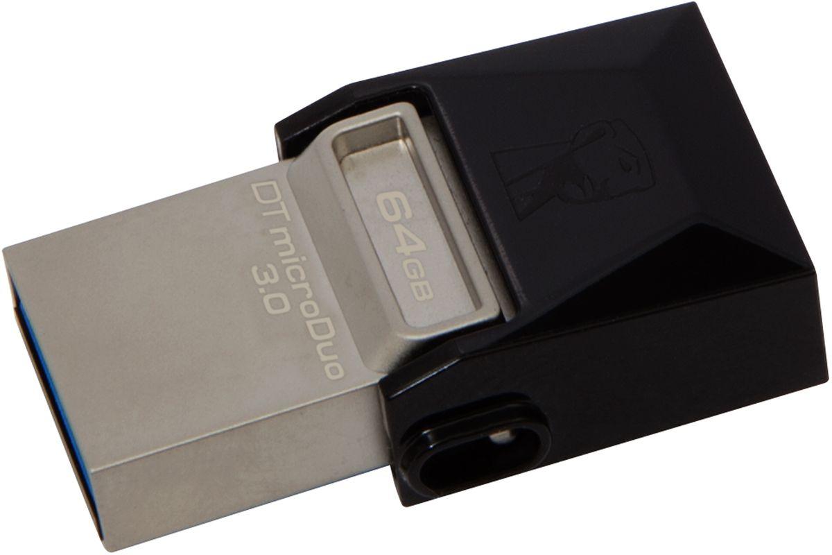 Kingston DataTraveler microDuo 3.0 64GB USB-накопительDTDUO3/64GBНакопители Kingston DataTraveler microDuo 3.0 имеют компактный форм-фактор и предоставляют дополнительную память для планшетов и смартфонов, поддерживающих функцию USB OTG (On-The-Go). Стандарт USB OTG позволяет напрямую подключать мобильные устройства к поддерживаемым USB-устройствам. Накопители емкостью до 64 ГБ позволяют использовать разъемы microUSB, часто применяемые для зарядки устройств, в качестве портов расширения памяти. DTDUO идеально подходит для хранения больших файлов в путешествиях, обеспечивая функцию plug-and-play в планшетах и смартфонах без разъемов microSD; при этом цена на гигабайт у накопителя ниже, чем у дополнительных встроенных накопителей для мобильных устройств.В смартфонах и планшетах с возможностью записи HD-видео и съемки качественных фотографий свободное место заканчивается очень быстро. Накопители DTDUO позволяют перемещать файлы, фотографии, видео и другие данные для выгрузки или резервного копирования, не подключая устройство к ПК. Передача больших файлов с одного мобильного устройства на другое удобнее, чем при помощи облачных сервисов, к тому же не требуется кабель для переноса данных между устройством и ПК.Накопители Kingston DataTraveler microDuo 3.0 имеют формат USB 3.0. Они компактные, легкие и позволяют брать их куда угодно, а изящная конструкция накопителей подойдет для любого мобильного устройства. Поворотный колпачок защищает разъем microUSB от повреждений. Накопители серии имеют пятилетнюю гарантию, бесплатную техническую поддержку и отличаются легендарной надежностью, характерной для всей продукции Kingston.Поддержка ОС: Windows 8, Windows 7, Windows Vista, Windows XP, Windows 2000, Linux, Mac OS X, Android (4.0 и выше)
