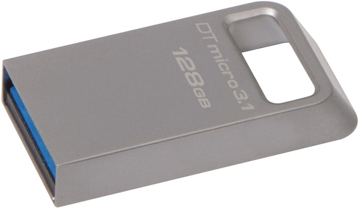 Kingston DataTraveler Micro 3.1 128GB USB-накопительDTMC3/128GBKingston DataTraveler Micro 3.1 - это сверхкомпактный и легкий USB-накопитель без колпачка, поддерживающий высокую скорость интерфейса USB 3.1 (до 100 МБ/с для чтения и до 15 МБ/с для записи). Он имеет настолько компактные размеры, что его можно оставить подключенным к ноутбуку, даже когда вы его не используете. Кроме того, накопитель имеет прочное кольцо для брелоков. С помощью этого устройства с автоматической настройкой конфигурации вы сможете хранить до 64 ГБ музыки, фильмов, файлов и других данных. Он идеально подходит для использования с планшетами, ноутбуками, автомобильными стереосистемами и телевизорами.Металлический корпус дополняет современный внешний вид других устройств. Он не имеет колпачка, который можно потерять или сломать.Высокая скорость интерфейса USB 3.1.Пятилетняя гарантия, бесплатная техническая поддержка и легендарная надежность Kingston.
