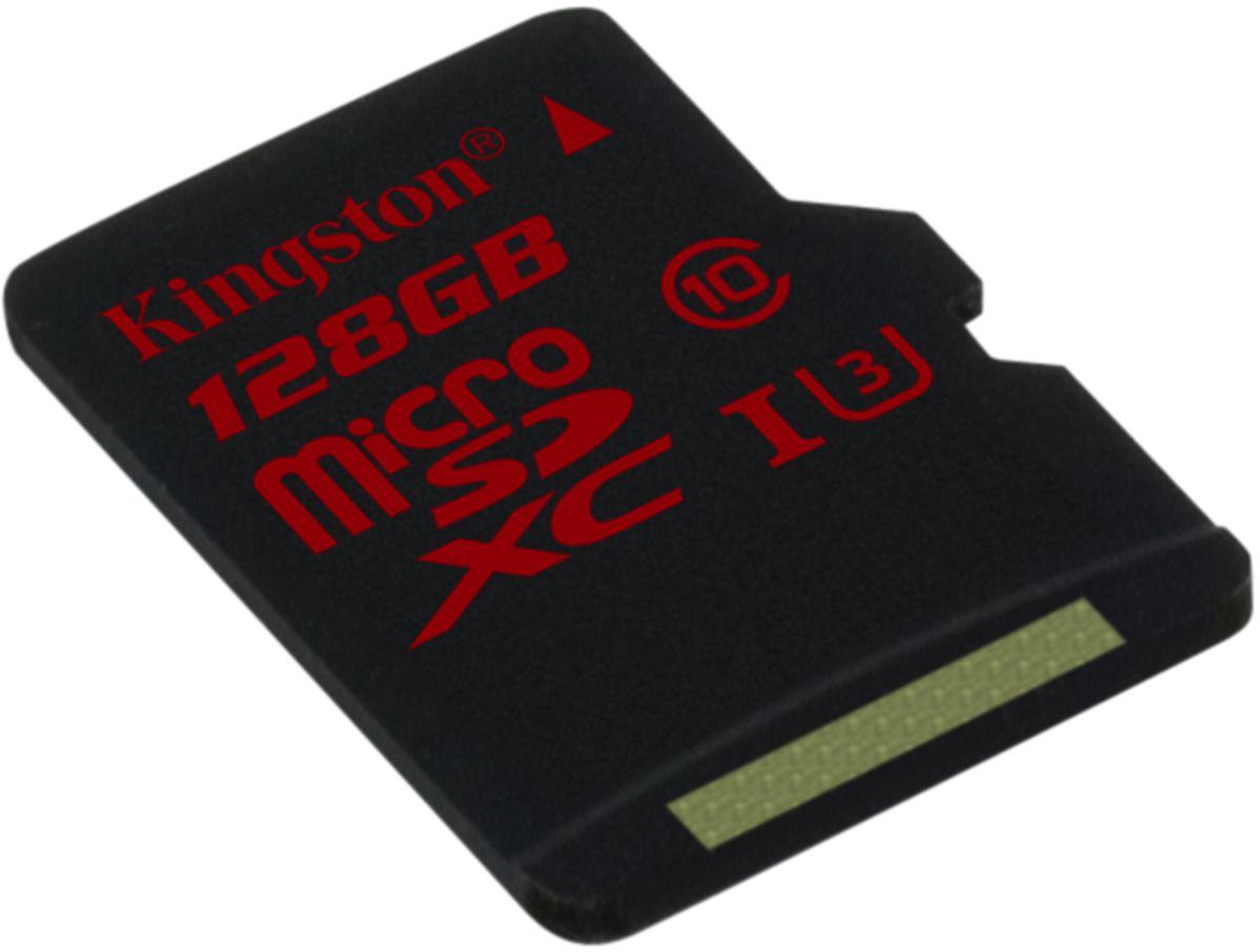 Kingston microSDXC Class 10 U3 UHS-I 128GB карта памятиSDCA3/128GBSPКарта памяти Kingston microSDXC Class 10 U3 UHS-I поможет вам в увеличении объема памяти мобильных телефонов, смартфонов, планшетов и других портативных устройств с поддержкой microSDXC. Она также отлично подходит для серийной фотосъемки и записи видео в формате 4К. Данная модель имеет все основные защитные функции от Kingston: водонепроницаемый корпус, ударостойкость и виброустойчивость, защиту от рентгеновских аппаратов в аэропортах и экстремальных температур.