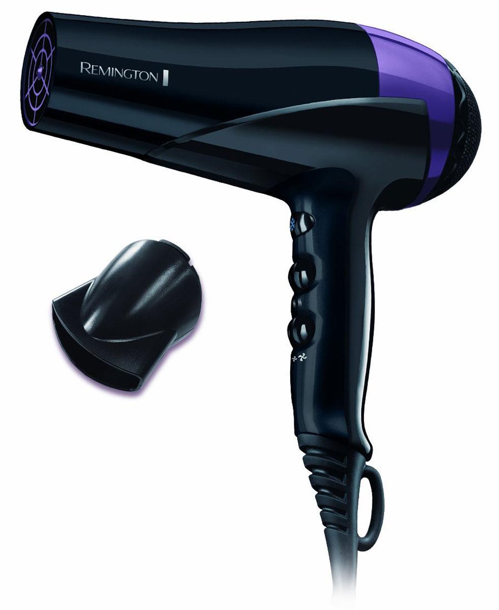 Remington D6090, Black Purple фен для волосD6090Приготовьтесь защитить свой цвет волос и стиль с инновационным феном Remington D6090. Обладая современными технологиями, этот фен имеет уникальное покрытие керамической решетки на выходе воздушного потока, которое состоит из микрокондиционеров для защиты цвета окрашенных волос. При сушке, микрокондиционеры передаются волосам и на молекулярном уровне защищают цвет окрашенных волос от смывания и ультрафиолетового излучения. Окрашенные волосы дольше сохраняют глянцевый и яркий цвет.Мощность фена Remington D6090 составляет 2200 Вт, что гарантирует быструю сушку. Выбирайте из трех температурных и двух скоростных режимов. Ионное кондиционирование защитит от спутывания волос, а функция подачи холодного воздуха поможет зафиксировать укладку.
