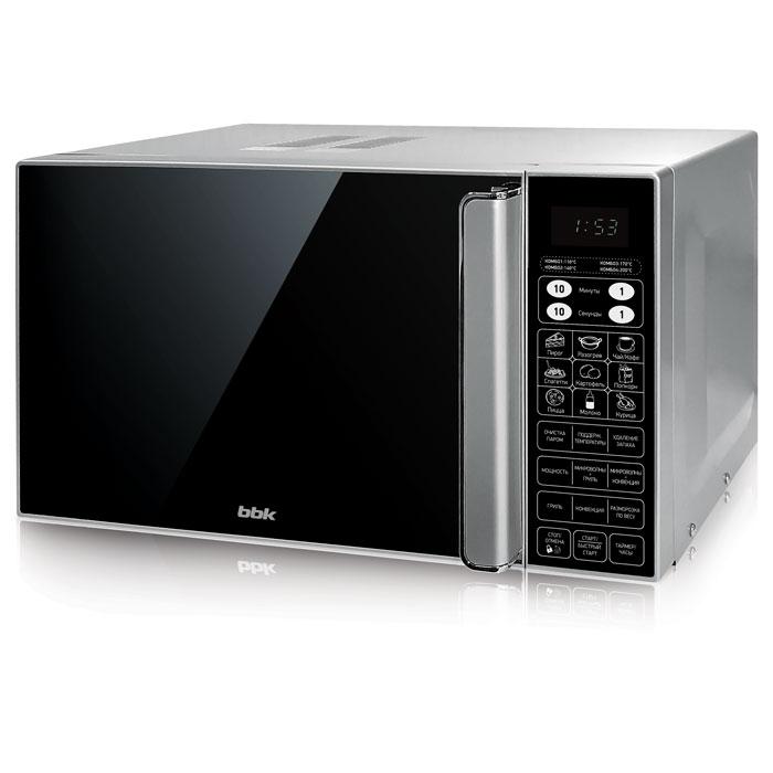 BBK 23MWC-982S/SB-M, Silver Black СВЧ-печь23MWC-982S/SB-M/RUСовременная и вместительная микроволновая печь BBK 23MWC-982S/SB-M проста в управлении и довольно функциональна. Зеркальная передняя панель, LED-дисплей и электронное управление – вот составляющие стильного и лаконичного дизайна современной техники для кухни. Объем камеры составляет 23 литра. Существует 11 уровней регулировки мощности микроволн, максимальная – 900 Вт. Помимо привычных автоматических программ приготовления и размораживания блюд по весу, есть комбинированный режим, который заключается в использовании микроволн и гриля и подходит для приготовления больших кусков мяса или рыбы. Функция Конвекция позволит заменить духовку на микроволновую печь, если захочется полакомиться пирогами или бисквитом. Функция блокировки панели управления ограничит доступ ребенка к технике. Предусмотрена функция удаления запахов.