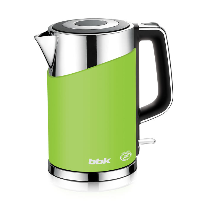 BBK EK1750P, Green электрический чайникEK1750P зеленыйСовременный электрический чайник BBK EK1750P имеет мощность 2200 Вт и емкость 1,7 литра. Контроллер английской фирмы Otter обеспечивает бесперебойную и долговременную эксплуатацию устройства. Особенностью модели являются двойные стенки колбы, за счет чего обеспечивается бесшумное закипание, безопасное прикосновение и долговременное сохранение высокой температуры воды. Чайник установлен на удобной подставке с возможностью поворота на 360° и с отделением для хранения шнура. Скрытый нагревательный элемент, удобный носик для наливания и шкала уровня воды обеспечат комфортное ежедневное использование.