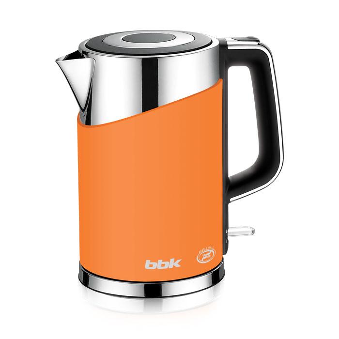 BBK EK1750P, Orange электрический чайникEK1750P оранжСовременный электрический чайник BBK EK1750P имеет мощность 2200 Вт и емкость 1,7 литра. Контроллер английской фирмы Otter обеспечивает бесперебойную и долговременную эксплуатацию устройства. Особенностью модели являются двойные стенки колбы, за счет чего обеспечивается бесшумное закипание, безопасное прикосновение и долговременное сохранение высокой температуры воды. Чайник установлен на удобной подставке с возможностью поворота на 360° и с отделением для хранения шнура. Скрытый нагревательный элемент, удобный носик для наливания и шкала уровня воды обеспечат комфортное ежедневное использование.