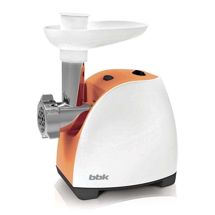 BBK MG1601, White Orange мясорубкаMG1601 б/орМясорубка BBK MG1601 – многофункциональное устройство, которое предназначено не только для измельчения мяса, но также для изготовления полуфабрикатов, лапши, соков из мягких фруктов и овощей. Имея максимальную мощность 1600 Вт, способна за одну минуту переработать 1,2 кг мяса. В комплектацию входит 2 перфорированных диска для фарша. Оснащена полезной функцией реверса, которая позволяет шнеку вращаться в обратную сторону и тем самым легко устранять затор.