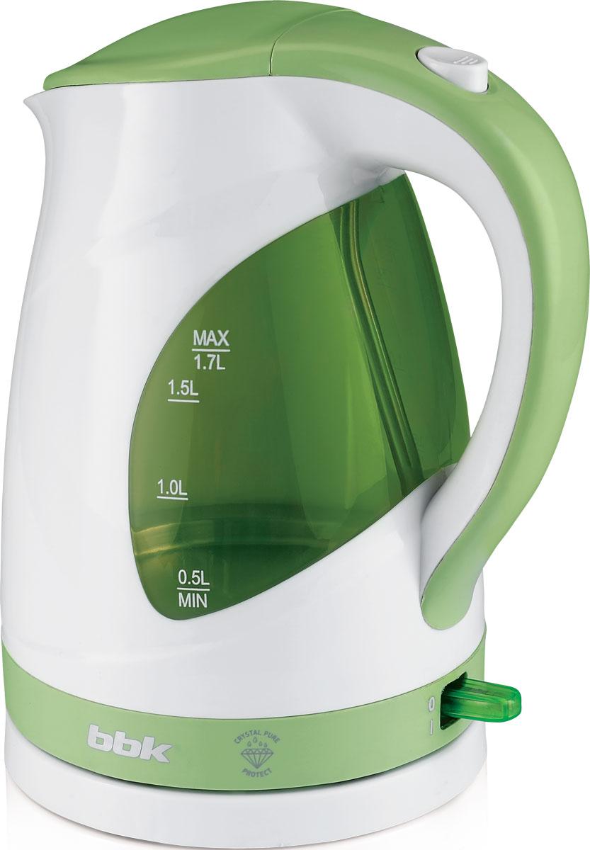 BBK EK1700P, White Green электрический чайникEK1700P бел/зелСовременный электрический чайник BBK EK1700P из термостойкого экологически чистого пластика, сочетающий в себе многофункциональность и дизайн, станет украшением вашейкухни. Чайник оснащен технологией Crystal Pure Protect - это улучшенная защита от накипи и усовершенствованная очистка воды, а также многоуровневой защитой. Прибор установлен на удобную подставку с возможностью поворота на 360 градусов и с отделением для хранения шнура. Помимо этого отличительной особенностью является удобный носик для наливания и шкала уровня воды. Съемный фильтр от накипи и скрытый нагревательный элемент гарантированно обеспечат надежность, долговечность и максимально комфортное ежедневное использование.