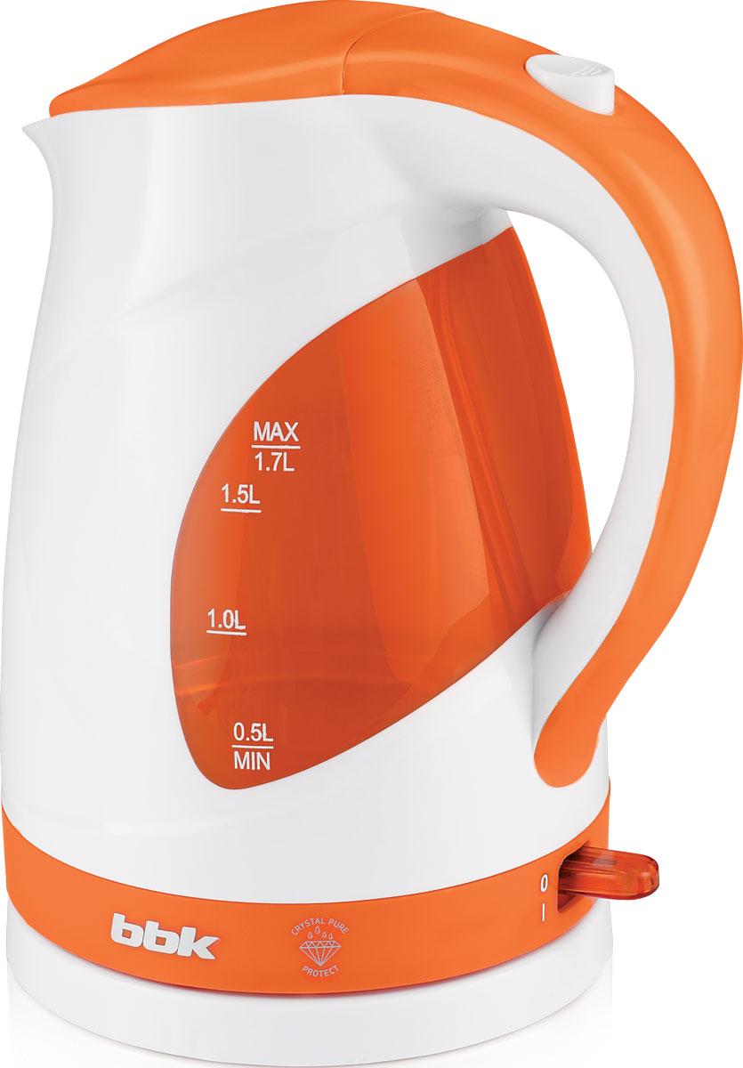 BBK EK1700P, White Orange электрический чайникEK1700P бел/орСовременный электрический чайник BBK EK1700P из термостойкого экологически чистого пластика, сочетающий в себе многофункциональность и дизайн, станет украшением вашейкухни. Чайник оснащен технологией Crystal Pure Protect - это улучшенная защита от накипи и усовершенствованная очистка воды, а также многоуровневой защитой. Прибор установлен на удобную подставку с возможностью поворота на 360 градусов и с отделением для хранения шнура. Помимо этого отличительной особенностью является удобный носик для наливания и шкала уровня воды. Съемный фильтр от накипи и скрытый нагревательный элемент гарантированно обеспечат надежность, долговечность и максимально комфортное ежедневное использование.