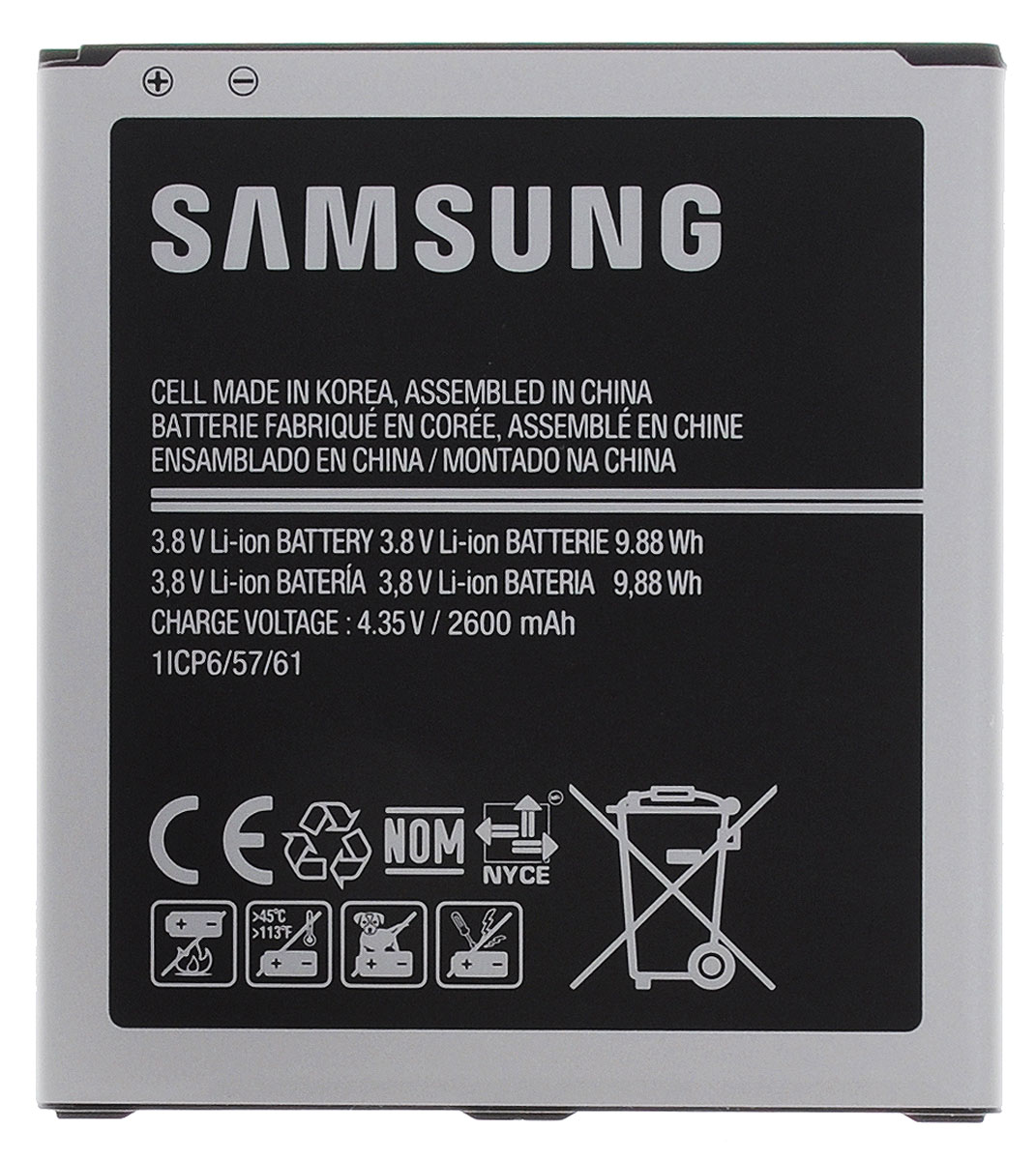 Samsung EB-BG530CBE аккумулятор для Galaxy Grand PrimeEB-BG530CBEGRUАккумулятор EB-BG530CBE для Samsung Galaxy Grand Prime является важным аксессуаром, от которого зависит качество работы смартфона. Также он может служить страховкой в долгой поездке и дополнять основной аккумулятор. Батарея имеет компактные размеры и не создаст лишнего веса при транспортировке. Отличное решение для тех, кому не хватает одной батареи, и у кого есть потребность в том, что бы устройство было доступно в течении долгого времени без необходимости поиска места для его зарядки.