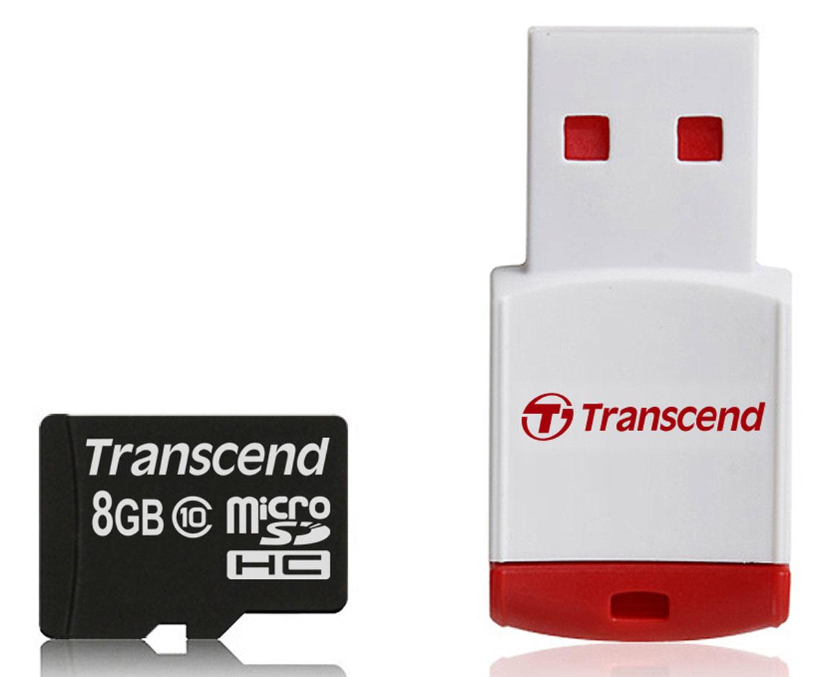 Transcend microSDHC Class 10 8GB карта памяти + P3 картридерTS8GUSDHC10-P3Карта памяти Transcend microSDHC Class 10 была создана для того, чтобы повысить эффективность работы с вашим смартфоном или планшетом, и соответствуют всем требованиям стандарта Ultra High Speed Class 1. Построенная на основе самых современных технологий, эта карта обеспечивает максимальный уровень производительности в требовательных к работе подсистемы памяти играх и приложениях, а также позволяет без задержек воспроизводить Full HD-видео с полной кадровой частотой.Включает компактный портативный USB-картридерУльтравысокоскоростная и компактнаяПолная совместимость с Hi-Speed USB 2.0 (Картридер P3 )Встроенная технология ECC для обнаружения и исправления ошибок при передаче данныхЭксклюзивная программа RecoveRx для восстановления удаленных и утраченных данных с портативных носителей