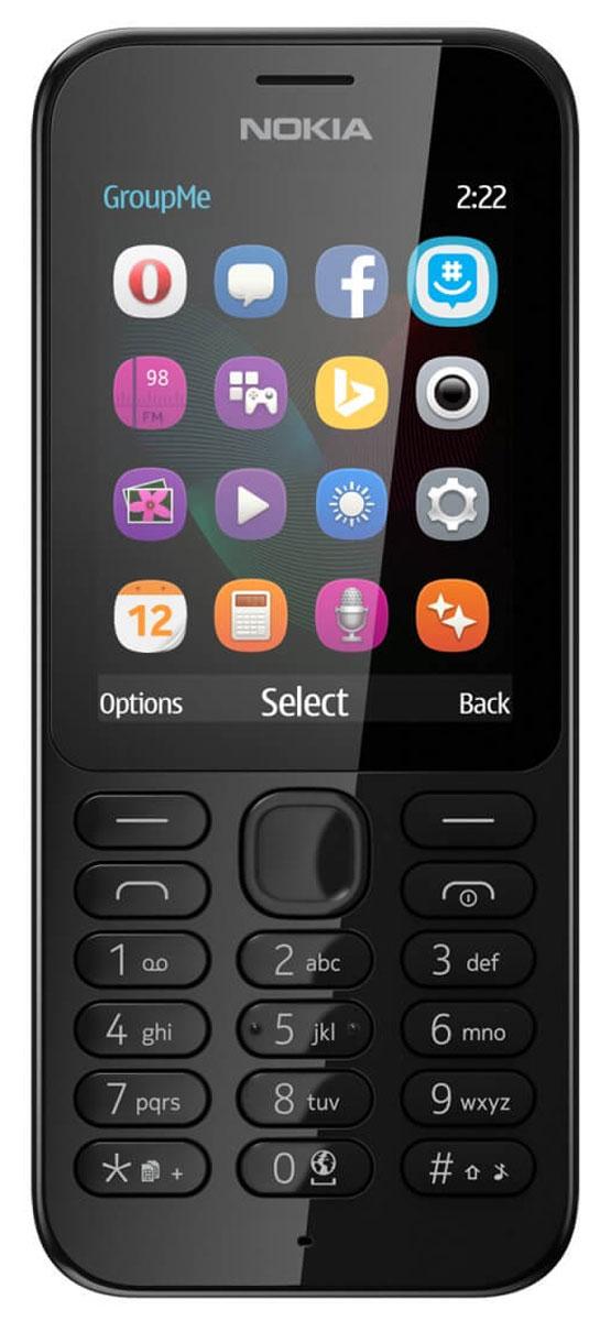 Nokia 222 DS, BlackNokia 222 DS BlackРаботайте в Интернете, говорите и обменивайтесь сообщениями с помощью надежного мобильного телефона с камерой Nokia 222 DS.Фотографируйте с помощью Nokia 222 все, что происходит вокруг. Задняя камера 2 Мпикс позволяет делать отличные снимки. Используйте Facebook или GroupMe by Skype для обмена фотографиями с друзьями и близкими.Находите нужную информацию, с помощью браузера Opera Mini, приложения MSN Погода и поисковой системы Bing. Общайтесь с друзьями и узнавайте новости с помощью Facebook, Twitter и Messenger.Каждый месяц на протяжении года вы можете бесплатно загрузить одну игру Gameloft. Такие игры, как Asphalt 6, Real Football, The Amazing Spiderman и Modern Combat 2, предлагаются с пробной лицензией. Проводите свободное время весело с играми на вашем телефоне.Вам понравится черная или белая глянцевая отделка. Клавиатура соответствующего цвета дополняет классический дизайн, придавая телефону совершенный вид.Благодаря поддержке двух сим-карт вы можете экономить на телефонных звонках, сообщениях и загрузке данных. Nokia 222 позволяет выбирать оптимального оператора во время путешествий и использовать разные сим-карты для личных и рабочих нужд.Телефон сертифицирован EAC и имеет русифицированную клавиатуру, меню и Руководство пользователя.