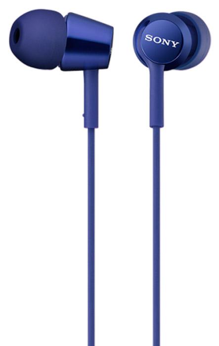 Sony MDR-EX150, Blue наушники95489215Наушники-вкладыши Sony MDR-EX150 предлагаются в десяти ярких цветовых решениях, что позволит вам подобрать пару наушников под свой индивидуальный стиль. Динамики с неодимовыми магнитами и с диаметром диффузора 9 мм обеспечивают яркое энергичное звучание музыки, а диапазон воспроизводимых частот от 5 Гц до 24 кГц идеально подойдет для популярных стилей музыки.