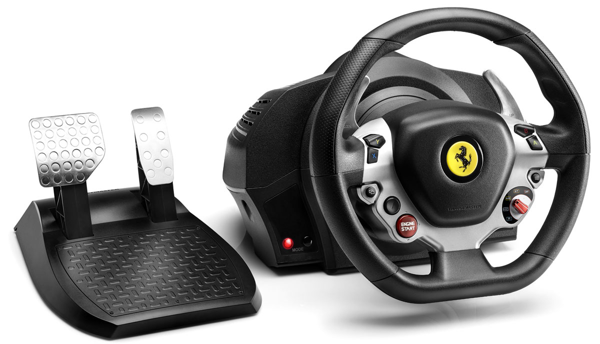 Thrustmaster TX RW Ferrari 458 руль для Xbox One (4460104)4460104Thrustmaster TX RW Ferrari 458 - руль с функцией Force Feedback и мотором типа brushless промышленного класса.Мотор типа brushless промышленного классаСуперплавная силовая обратная связь с нулевым значением coggingСуперчувствительные и реалистичные эффекты Force, без задержкиНовый оптимизированный двухременной механизм без тренияПлавное мягкое действие — супертихая системаСуперточная рулевая система Технология H.E.A.R.T HallEffect AccuRate Technology: бесконтактный магнитный датчик — точность, не убывающая со временем. 16-битное разрешение (65536 значений на оси поворота руля)Регулируемый угол поворота от 270° до 900°Встроенная память и обновляемая прошивкаКнопка Xbox GuideИндикатор контроллера сопряжения с KinectМеталлические педали с большим ходомПедаль тормоза с прогрессивным сопротивлениемРеалистичный — диаметр 28 см, текстурированное прорезиненное покрытие захвата2 больших секвенционных переключателя-лепестка на рулеМеталлическая центральная система крепления, совместимая с любыми столамиВстроенные резьбовые отверстия для быстрого закрепления на любом кокпите