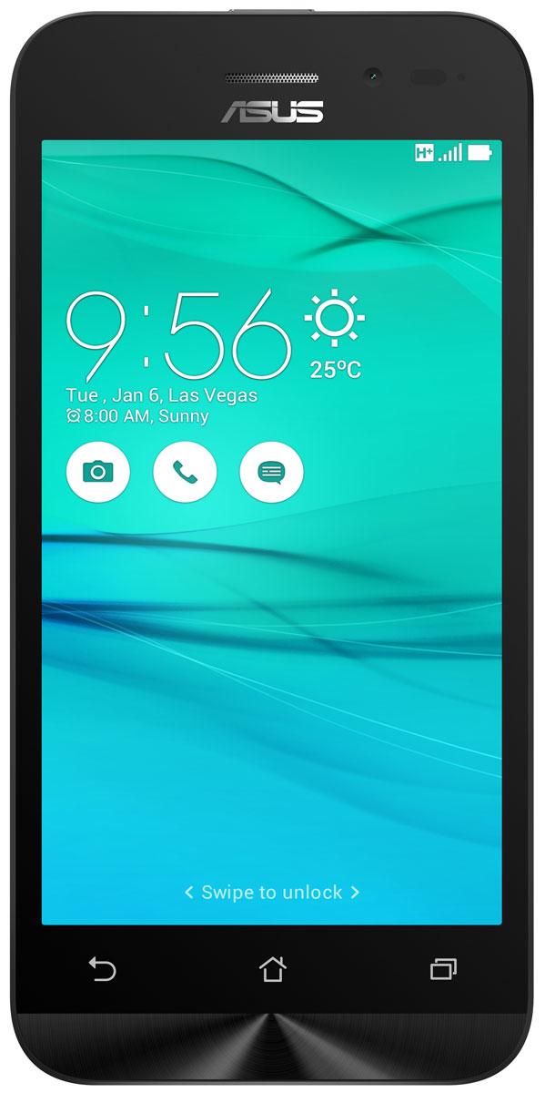 ASUS ZenFone Go ZB452KG, White (90AX0142-M01140)90AX0142-M01140Смартфон ZenFone Go (ZB452KG) выполнен в изящном корпусе. Обладая эргономичной формой, он украшен традиционным для мобильных устройств ASUS узором из концентрических окружностей с углублениями размером 0,13 мм.Четырехъядерный процессор:Мощный процессор Qualcomm Snapdragon 200 обеспечивает высокую производительность ZenFone Go в многозадачном режиме.Впечатляющее изображение:ZenFone Go оснащается IPS-дисплеем с разрешением 480x854 пикселей. Изображение на его экране отличается высокой яркостью, поразительной четкостью и насыщенными цветами.Высококачественная камера:Для съемки ярких фотографий данный смартфон оснащается тыловой камерой с высоким разрешением. Ловите красивые моменты жизни вместе с ZenFone Go!Поддержка двух SIM-карт:ZenFone Go оснащается двумя слотами для SIM-карт, что позволяет использовать одновременно два телефонных номера, например рабочий и личный. Применяемый в нем модуль мобильной связи также может похвастать пониженным энергопотреблением, что положительно сказывается на времени автономной работы устройства.Эксклюзивный пользовательский интерфейс ZenUI:В смартфоне ZenFone Go реализован пользовательский интерфейс ZenUI, разработанный специально для мобильных устройств ASUS. Отличаясь современным дизайном и удобством представления информации, он отражает концепции свободы самовыражения и общения без границ.Телефон сертифицирован EAC и имеет русифицированную клавиатуру, меню и Руководство пользователя.