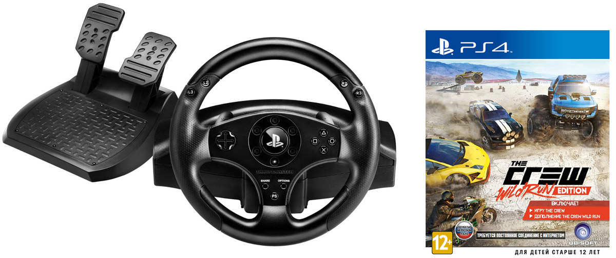 Thrustmaster T80 Racing Wheel руль + игра The Crew. Wild Run Edition (PS4)