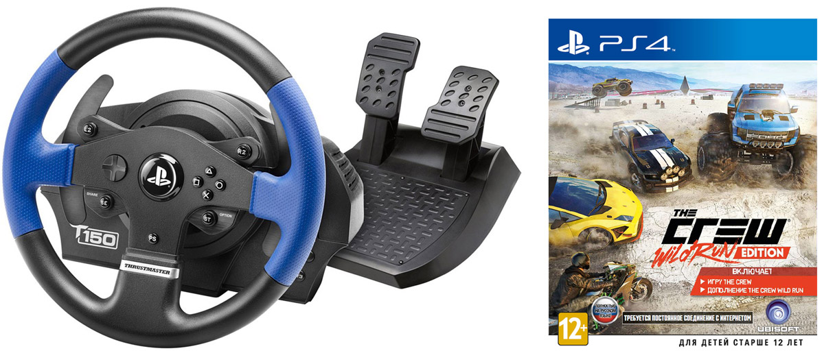 где купить  Thrustmaster T150 RS EU Version руль для PS4/PS3/PC (4160628) + игра The Crew. Wild Run Edition (PS4)  дешево
