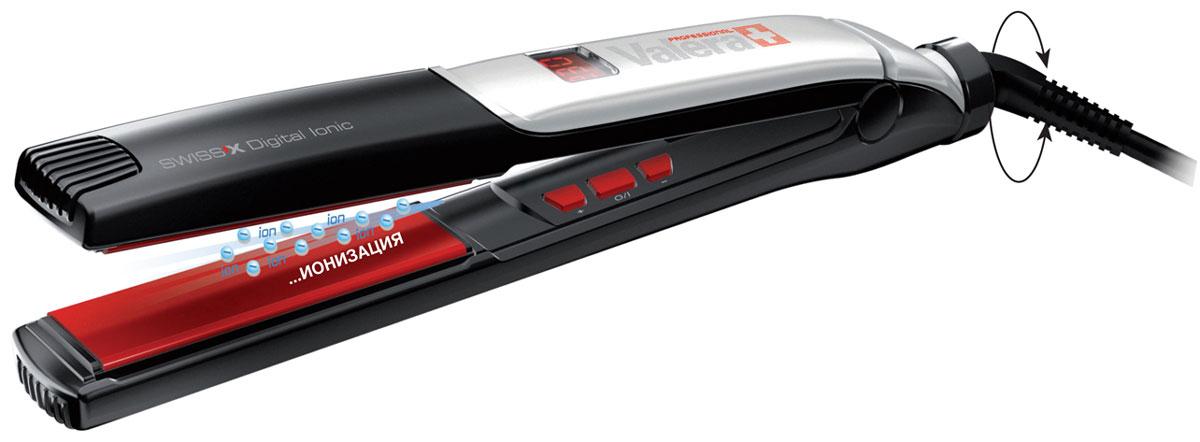 Valera 100.01/I SwissX Digital Ionic, Black профессиональный выпрямитель100.01/IПрофессиональный керамический выпрямитель волос Valera 100.01/I SwissX Digital Ionic с цифровым управлением и ионизатором. Серебряные наночастицы, содержащиеся в керамическом покрытии нагревательных пластин выпрямителей волос препятствуют делению и росту бактерий и грибков, вызывающих инфекции, а также предупреждают аллергию. Керамическое покрытие пластин обеспечивает равномерное распределение тепла и препятствует возникновению точек перегрева, таким образом, защищая волосы.Турмалиновые керамические пластины обеспечивают равномерное выпрямление волос, делая их гладкими и предотвращая спутывание волос, придают волосам здоровый блеск. Турмалин - естественный источник отрицательных ионов для целебного и антистатического воздействия. Каждый утюжок проходит многоступенчатую проверку качества в контрольно-измерительной лаборатории, где осуществляется контроль температурных, сушильных и других показателей.