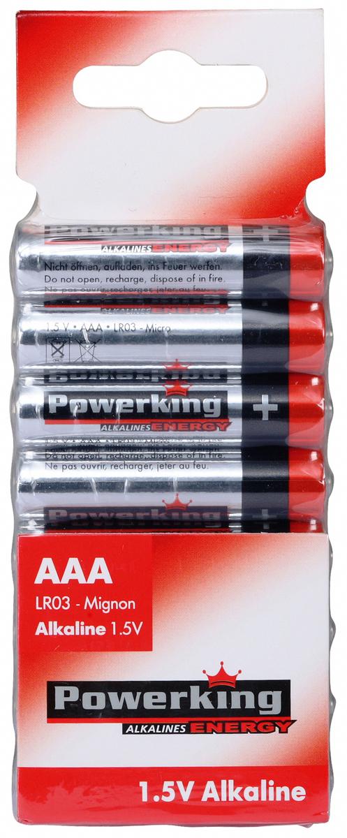 Батарейка алкалиновая PowerKing, тип ААА, 1,5V, 8 шт109055Щелочные (алкалиновые) батарейки PowerKing оптимально подходят для повседневного питания множества современных бытовых приборов: электронных игрушек, фонарей, беспроводной компьютерной периферии и многого другого. Не содержат кадмия и ртути. Батарейки созданы для устройств со средним и высоким потреблением энергии. Работают в 10 раз дольше, чем обычные солевые элементы питания. PowerKing - высокое качество и максимальная производительность!