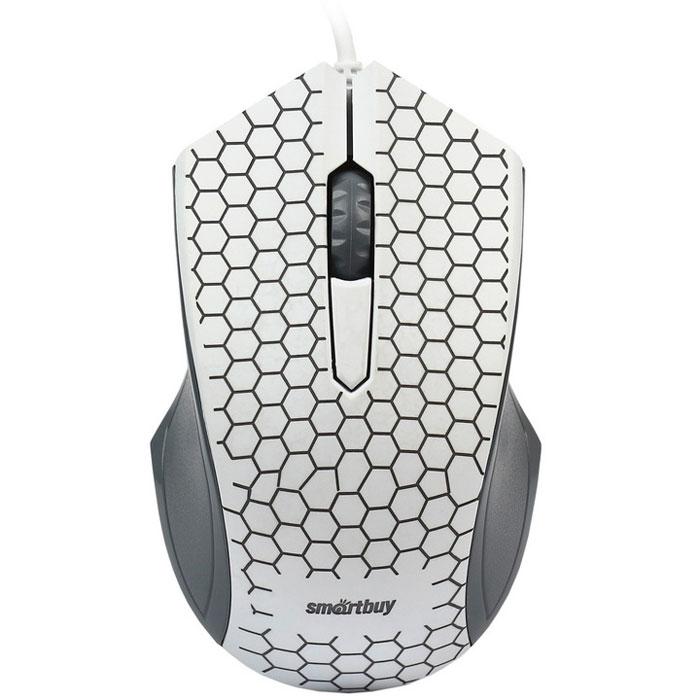 SmartBuy One 334, White мышьSBM-334-WСовременная проводная мышь SmartBuy One 334 придется по вкусу молодым пользователям. Матовое покрытие и углубления для пальцев обеспечивают комфортное управление и приятные тактильные ощущения при работе с устройством.Оптический сенсор с разрешением 1000 dpi позволяет использовать манипулятор на различных поверхностях. Особой оригинальности модели придает разноцветная подсветка декоративного орнамента, напоминающего змеиную кожу. Мышь не требует установки драйверов и готова к работе сразу после подключения к USB-порту компьютера.