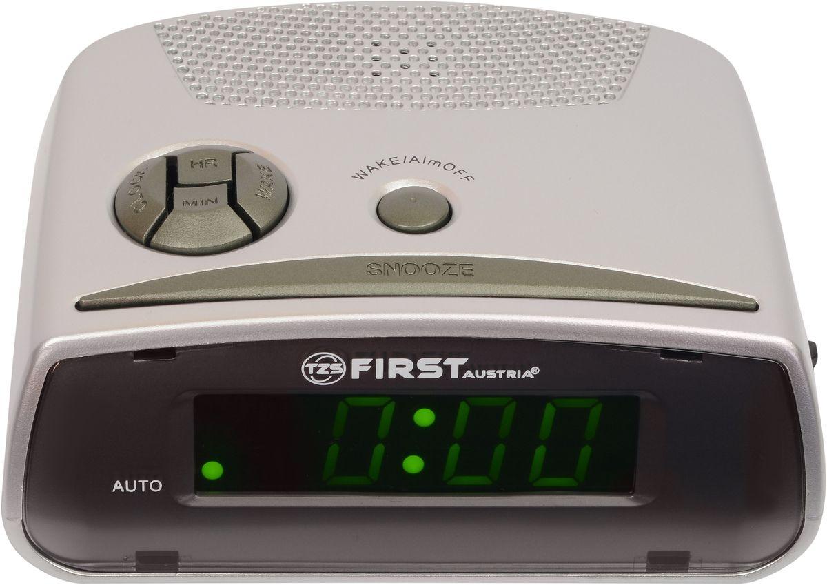 First FA-2410-GR цифровой будильникFA-2410-GRFirst FA-2410-GR - цифровой будильник с LED-дисплеем диагональю 0,6 дюйма. Устройство изготовлено из качественных материалов и позволит вам просыпаться вовремя без риска опоздать куда-либо. Вы также можете активировать отложенный сигнал чтобы поспать еще немного времени. Будильник отключится и прозвенит через 9 минут.Резервное питание: 1 батарейка 9В (в комплект не входит)