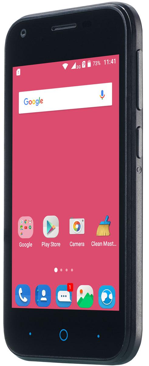 ZTE Blade L110, BlackZTE BLADE L110 BLACKКомпактный корпус смартфона ZTE Blade L110 изготовлен из качественного текстурированного поликарбоната, который максимально неприхотлив в повседневном использовании и будет удобно лежать в руке.Управление смартфона ZTE Blade L110 осуществляется на базе операционной системы Android 5.1, которая комфортна и интуитивно доступна любому современному пользователю, а также обеспечивает стабильную работу любых доступных приложений.Четрырехъядерный процессор и до 1 ГБ оперативной памяти обеспечивают скорость в обработке повседневных задач и плавную работу приложений.Смартфон ZTE Blade L110 обладает слотом для установки двух SIM-карт – разделяйте личные и рабочие звонки, выбирайте удобные тарифы в поездках и пользуйтесь интернетом независимо от вашего места нахождения.Смартфон сертифицирован EAC и имеет русифицированный интерфейс меню и Руководство пользователя.