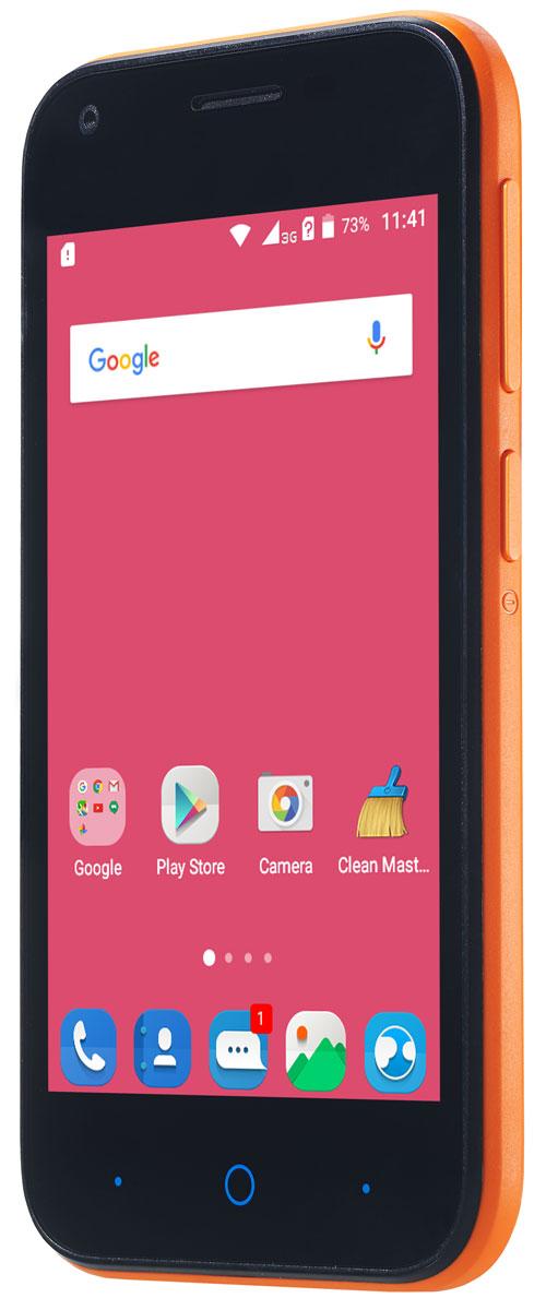ZTE Blade L110, OrangeZTE-BLADE.L110.ORКомпактный корпус смартфона ZTE Blade L110 изготовлен из качественного текстурированного поликарбоната, который максимально неприхотлив в повседневном использовании и будет удобно лежать в руке.Управление смартфона ZTE Blade L110 осуществляется на базе операционной системы Android 5.1, которая комфортна и интуитивно доступна любому современному пользователю, а также обеспечивает стабильную работу любых доступных приложений.Четрырехъядерный процессор и до 1 ГБ оперативной памяти обеспечивают скорость в обработке повседневных задач и плавную работу приложений.Смартфон ZTE Blade L110 обладает слотом для установки двух SIM-карт – разделяйте личные и рабочие звонки, выбирайте удобные тарифы в поездках и пользуйтесь интернетом независимо от вашего места нахождения.Смартфон сертифицирован EAC и имеет русифицированный интерфейс меню и Руководство пользователя.