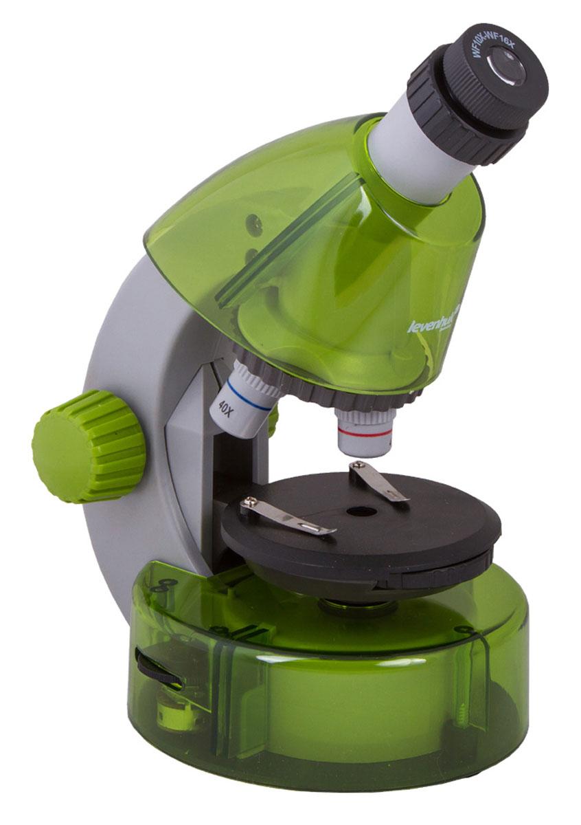 Levenhuk LabZZ M101, Lime микроскопXSP-1508 Pantone #377C Transp.Как выглядят безобидные букашки при большом увеличении, из чего состоят растения, кого можно увидеть в капле обычной воды - с микроскопом Levenhuk LabZZ M101 ваш ребенок сможет найти ответы на эти и многие другие вопросы. В комплекте есть все, что нужно для первого знакомства с микромиром - готовые образцы для изучения, специальные инструменты для работы с микроскопическими объектами и подробное руководство по проведению интереснейших опытов.Микроскоп создан специально для детей, но по уровню оптики он не уступает некоторым взрослым моделям. Прибор снабжен тремя объективами, причем для смены объектива не нужно прерывать занятия - достаточно повернуть револьверное устройство. Уникальная особенность этого микроскопа - выдвижной двухпозиционный окуляр. Такой окуляр заменяет собой два окуляра с увеличением 10 и 16 крат, а пользоваться им очень просто. Кроме того, ребенку не придется менять окуляры, а значит, они не потеряются. Три объектива и окуляр позволяют получить увеличения 40, 64, 100, 160, 400 и 640 крат.Чтобы рассмотреть крылышко мухи или клетки лука, тонкий прозрачный образец помещают на круглый предметный столик. Удобные зажимы позволяют надежно зафиксировать микропрепарат - он не собьется при неосторожном движении. Свет от светодиодов, которые находятся под предметным столиком, проходит через препарат и создает увеличенное изображение. Удобно, что яркость подсветки регулируется - для более прозрачных препаратов ее можно немного уменьшить, а для менее прозрачных увеличить.Корпус микроскопа сделан из прочного пластика - прибор получился очень легким и в то же время надежным. Чтобы маленький исследователь не уставал во время занятий с микроскопом, окулярная трубка наклонена под углом 45°. Микроскоп работает от батареек - он безопаснее и мобильнее, чем модели с питанием от сети.В комплект входит набор, в котором есть все необходимое для проведения увлекательнейших опытов. Из руководства ребенок узна