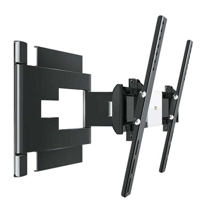 Holder LEDS-7025, Black кронштейн для ТВLEDS-7025, черныйКронштейн Holder LEDS-7025 разработан с учетом тенденций рынка телевизоров и инноваций в дизайне техники.Надежное металлическое основание кронштейна (толщина металла 3 мм) и крепление до 8 винтов гарантируют сохранность устанавливаемой техники.Внутри декоративных корпусных деталей кронштейна находится усиленный металлический несущий каркас, испытанный трехкратной нагрузкой. Металлический каркас исключает провисание кронштейна под тяжестью техники.Кронштейн сконструирован с учетом особенностей телевизионной техники. Четко вымеренное расстояние от стены позволяет устанавливать телевизоры с различными разъемами (в том числе и с перпендикулярными разъемами). Расстояние от стены предотвращает перегрев телевизора, а также гарантирует максимальный эффект звучания.Тонкая регулировка кронштейна позволяет выровнять телевизор по горизонту. Телевизор можно наклонять, поворачивать и прижимать к стене. Вы сможете смотреть телевизор из разных углов комнаты. Кронштейн обладает интуитивно понятным механизмом трансформации (изменение угла наклона без использования инструментов). Любое выбранное вами положение легко зафиксировать. Повернуть и наклонить телевизор с легкостью может даже ребенок.Дизайн кронштейна базируется на простых геометрических формах и лаконичных прямых линиях. Декоративные детали кронштейна выполнены из ударопрочного АБС-пластика, который используется в материалах корпуса телевизоров, благодаря чему кронштейн максимально сочетается с внешним видом телевизоров.В набор входят все необходимые крепежи, в том числе шаблон для монтажа на стене. С шаблоном установка кронштейна не займет у вас много времени. Вы не потратите время и деньги на поиск и покупку дополнительной фурнитуры.В корпус деталей интегрирован кабель-канал с эксклюзивным способом укладки проводов, для использования которого не нужно инструментов. Направляющие в кабель-канале позволяют аккуратно расположить до 6 проводов.Фиксирующий механизм при пом