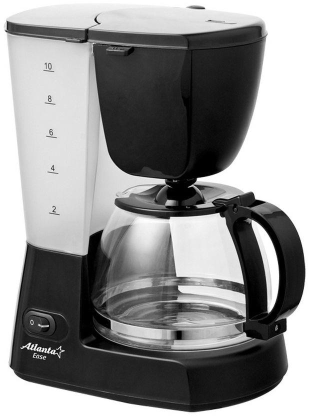 Atlanta ATH-2203, Black кофеваркаATH-2203С помощью капельной кофеварки Atlanta ATH-2203 вы сможете приготовить вкусный натуральный кофе. Кофеварка рассчитана на приготовление 1,25 литра кофе. Световой индикатор позволит отследить работу прибора. Подогреваемая подставка для колбы.