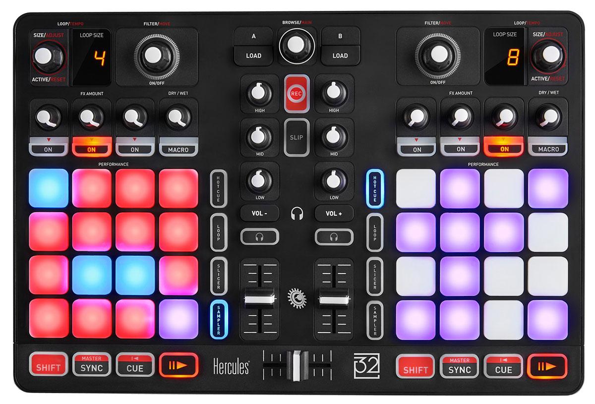 Hercules P32 DJ микшерный пульт4780848Полнофункциональный DJ пульт Hercules P32 DJ с двумя деками, объединяющий возможности микширования и сценического перфоманса.Благодаря двум декам индикации размера циклов, панелям эффектов, эквалайзерам и другим функциям модель превосходно подходит для задач микширования. Если добавить к этому два набора по 16 панелей, пакеты сэмплов программы DJUCED 40° и интеллектуальные функции смещения и дискретизации, получится полный комплект возможностей для диджея.Идеальное сочетание тела и духаПульт Hercules P32 DJ оснащен 32 эргономичными панелями с высокой скоростью отклика, которые обеспечивают точность исполнения и ощущение высокого качества. Интеллектуальные функции программы DJUCED 40° DJing позволяют поддерживать четкость ритма и структуры треков независимо от эффектов. Все необходимые функции для микширования и ремикширования под рукой. Ваша единственная задача - сфокусироваться на удовольствии творчества.Быть диджеем значит не просто обладать определенными техническими навыками и создавать списки воспроизведения, но и уметь делать шоу. С помощью панелей, динамической подсветки и пакетов сэмплов можно добиваться своего авторского звука и собственной визуальной презентации.Минимальные системные требования:Процессор: 2 ГГц или вышеОЗУ: не менее 2 ГБUSB-портОС: Microsoft Windows Vista/7/8/8.1/10 или Mac OS 10.8/10.9/10.10/10.11