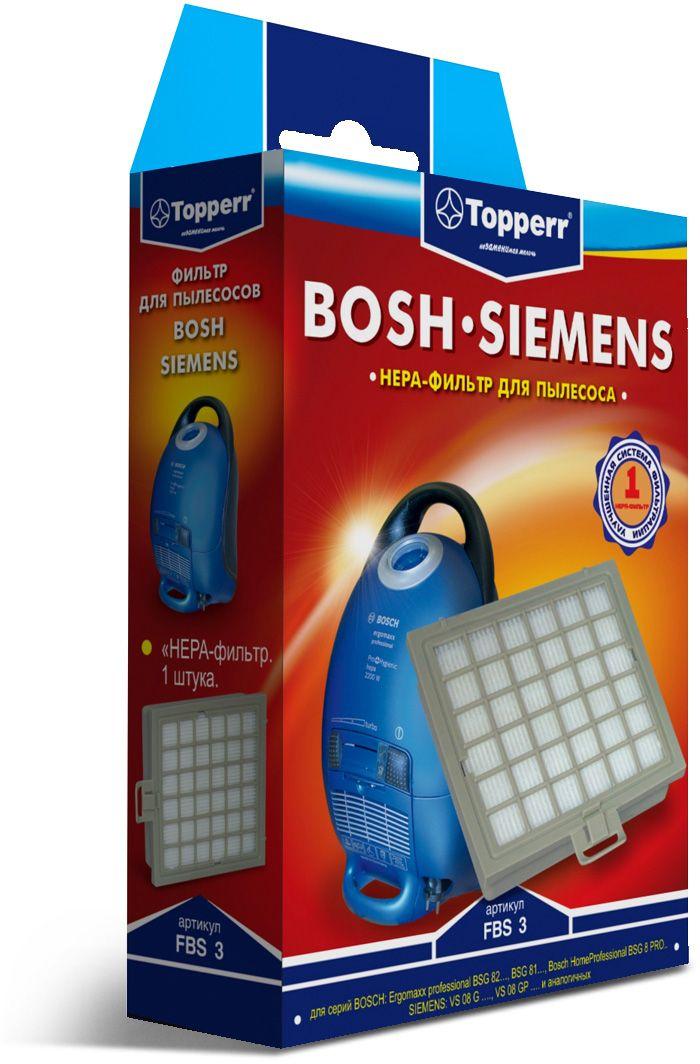 Topperr FBS 3 HEPA-фильтр для пылесосовBosch, Siemens1110HEPA-фильтр Topperr FBS 3 для пылесосов BOSCH и SIEMENS. Обладает высочайшей степенью фильтрации, задерживает 99,5% пыли. Благодаря специальным свойствам фильтрующего материала, фильтр улавливает мельчайшие частицы, позволяя очищать воздух от пыльцы, микроорганизмов, бактерий и пылевых клещей.