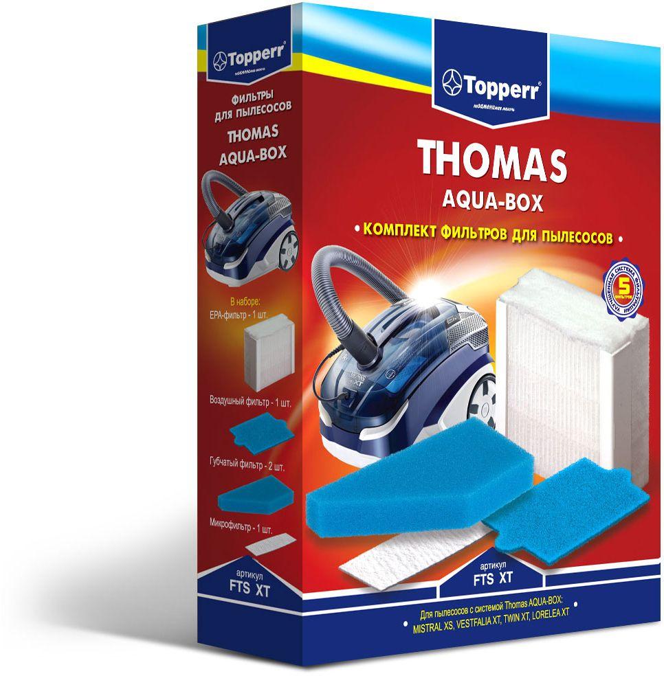 Topperr FTS XT комплект фильтров для пылесосовThomas1134Набор фильтров Topperr FTS XT для моющих пылесосов THOMAS с системой THOMAS AQUA-BOX.В наборе 5 предметов:- ЕРА-фильтрОбладает высочайшей степенью фильтрации, задерживает 99,5 % пыли. Благодаря специальной концентрации и свойствам фильтрующего материала, фильтр улавливает мельчайшие частицы, позволяя очищать воздух от пыльцы, микроорганизмов, бактерий и пылевых клещей.- воздушный фильтрМоющийся фильтр длительного использования защищает двигатель пылесоса от попадания тяжелых частиц пыли.- микрофильтрУлавливает оставшиеся микрочастицы пыли на выходе из пылесоса.- два губчатых фильтраУлавливают частицы пыли в системе очистки THOMAS AQUA-BOX.