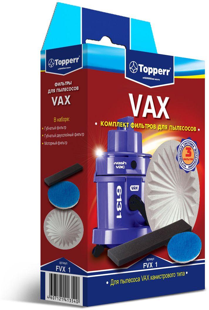 Topperr FVX 1 комплект фильтров для пылесосовVax1136Моторный фильтр Topperr FVX 1 обладает высочайшей степенью фильтрации, задерживает 99,5% пыли. Предотвращает её попадание в механическую часть пылесоса, тем самым продлевая срок службы пылесоса и сохраняют чистоту воздуха.В комплект входят:Губчатый фильтр (черный)Моющийся фильтр улавливает оставшиеся микрочастицы пыли на выходе из пылесоса.Губчатый двухслойный фильтр (круглый)Моющийся фильтр длительного использования защищает двигатель пылесоса от попадания тяжелых частиц пыли.