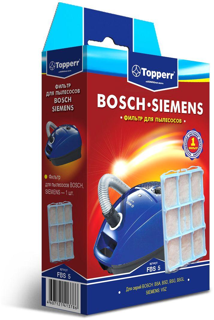 Topperr FBS 5 фильтр для пылесосовBosch, Siemens1140Фильтр Topperr FBS 5 для пылесосов BOSCH, SIEMENS задерживают 85% пыли, продлевая срок службы вашего пылесоса.
