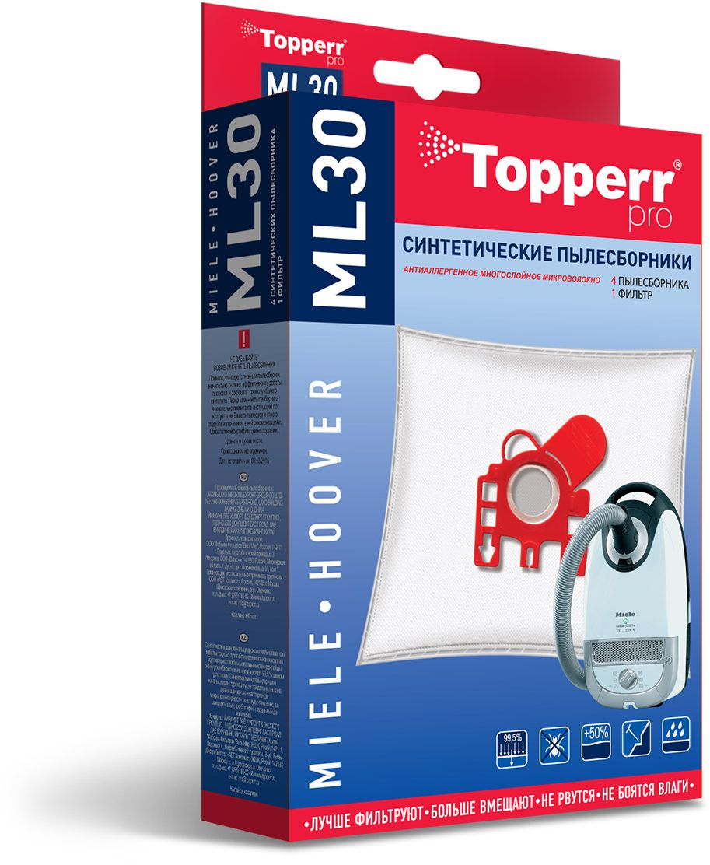 Topperr ML30 фильтр для пылесосов Miele, Hoover, 4 шт1410Синтетические пылесборники Topperr ML30 подходят для пылесосов MIELE и HOOVER произведены из нетканого фильтрующего материала. Данный материал не боится повышенной влажности и обладает большой прочностью, главное качество – способность задерживать 99,5% пыли. Регулярное использование синтетических мешков-пылесборников гарантирует не только очищение воздуха от пыли и аллергенных микроорганизмов, но и чистоту внутренних поверхностей пылесоса.