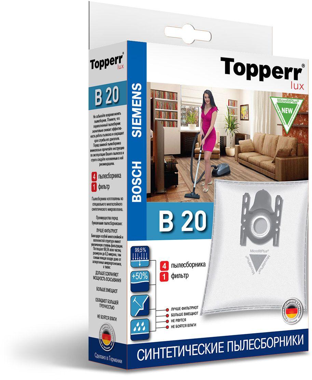 Topperr B 20 фильтр для пылесосовBosch, Siemens, 4 шт1414Немецкие синтетические пылесборники Topperr B 20 подходят для пылесосов BOSCH и SIEMENS, произведены из экологически чистого, многослойного нетканого фильтрующего материала MicrofiltPlus. Данный материал не боится повышенной влажности и обладает большой прочностью, главное качество — способность задерживать 99,5% пыли; сохраняет мощность всасывания пылесоса до полного заполнения пылесборника, также продлевает срок службы пылесоса.Регулярное использование синтетических мешков-пылесборников гарантирует не только очищение воздуха от пыли и аллергенных микроорганизмов, но и чистоту внутренних поверхностей пылесоса.