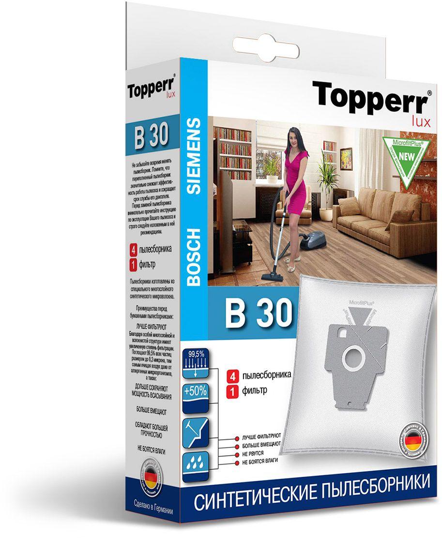 Topperr B 30 фильтр для пылесосовBosch, Siemens, 4 шт1415Немецкие синтетические пылесборники TOPPERR LUX подходят для пылесосов BOSCH и SIEMENS, произведены из экологически чистого, многослойного нетканого фильтрующего материала MicrofiltPlus. Данный материал не боится повышенной влажности и обладает большой прочностью, главное качество — способность задерживать 99,5% пыли; сохраняет мощность всасывания пылесоса до полного заполнения пылесборника, также продлевает срок службы пылесоса.Регулярное использование синтетических мешков-пылесборников гарантирует не только очищение воздуха от пыли и аллергенных микроорганизмов, но и чистоту внутренних поверхностей пылесоса.