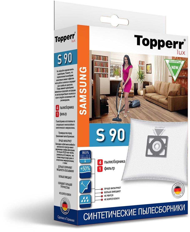 Topperr S 90 фильтр для пылесосовSamsung, 4 шт1419Немецкие синтетические пылесборники Topperr S 90 подходят для пылесосов SAMSUNG, произведены из экологически чистого, многослойного нетканого фильтрующего материала MicrofiltPlus. Данный материал не боится повышенной влажности и обладает большой прочностью, главное качество — способность задерживать 99,5% пыли; сохраняет мощность всасывания пылесоса до полного заполнения пылесборника, также продлевает срок службы пылесоса.Регулярное использование синтетических мешков-пылесборников гарантирует не только очищение воздуха от пыли и аллергенных микроорганизмов, но и чистоту внутренних поверхностей пылесоса.