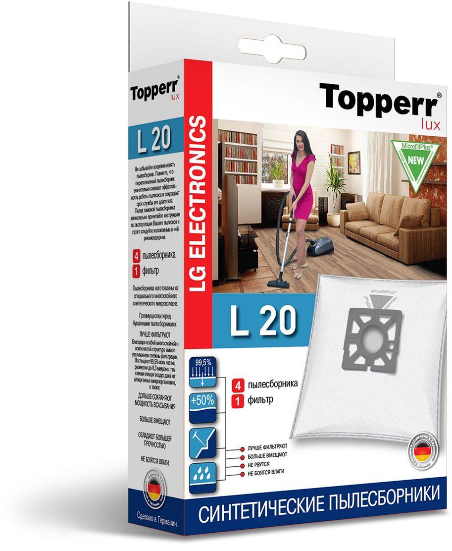 Topperr L 20 фильтр для пылесосовLG Electronics, 4 шт1421Немецкие синтетические пылесборники Topperr L 20 подходят для пылесосов LG ELECTRONICS, произведены из экологически чистого, многослойного нетканого фильтрующего материала MicrofiltPlus. Данный материал не боится повышенной влажности и обладает большой прочностью, главное качество — способность задерживать 99,5% пыли; сохраняет мощность всасывания пылесоса до полного заполнения пылесборника, также продлевает срок службы пылесоса.Регулярное использование синтетических мешков-пылесборников гарантирует не только очищение воздуха от пыли и аллергенных микроорганизмов, но и чистоту внутренних поверхностей пылесоса.