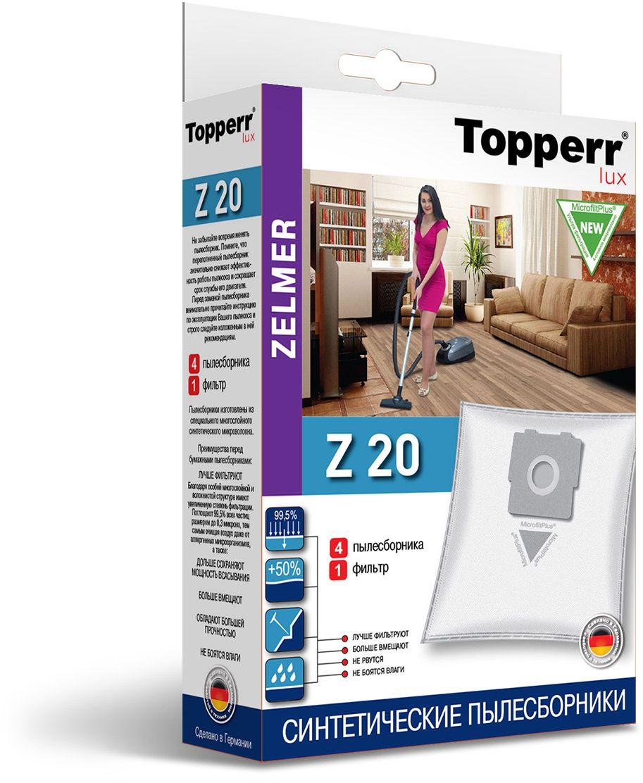 Topperr Z 20 фильтр для пылесосовZelmer, 4 шт1424Немецкие синтетические пылесборники TOPPERR LUX подходят для пылесосов ZELMER, BORK, произведены из экологически чистого, многослойного нетканого фильтрующего материала MicrofiltPlus. Данный материал не боится повышенной влажности и обладает большой прочностью, главное качество — способность задерживать 99,5% пыли; сохраняет мощность всасывания пылесоса до полного заполнения пылесборника, также продлевает срок службы пылесоса.Регулярное использование синтетических мешков-пылесборников гарантирует не только очищение воздуха от пыли и аллергенных микроорганизмов, но и чистоту внутренних поверхностей пылесоса.