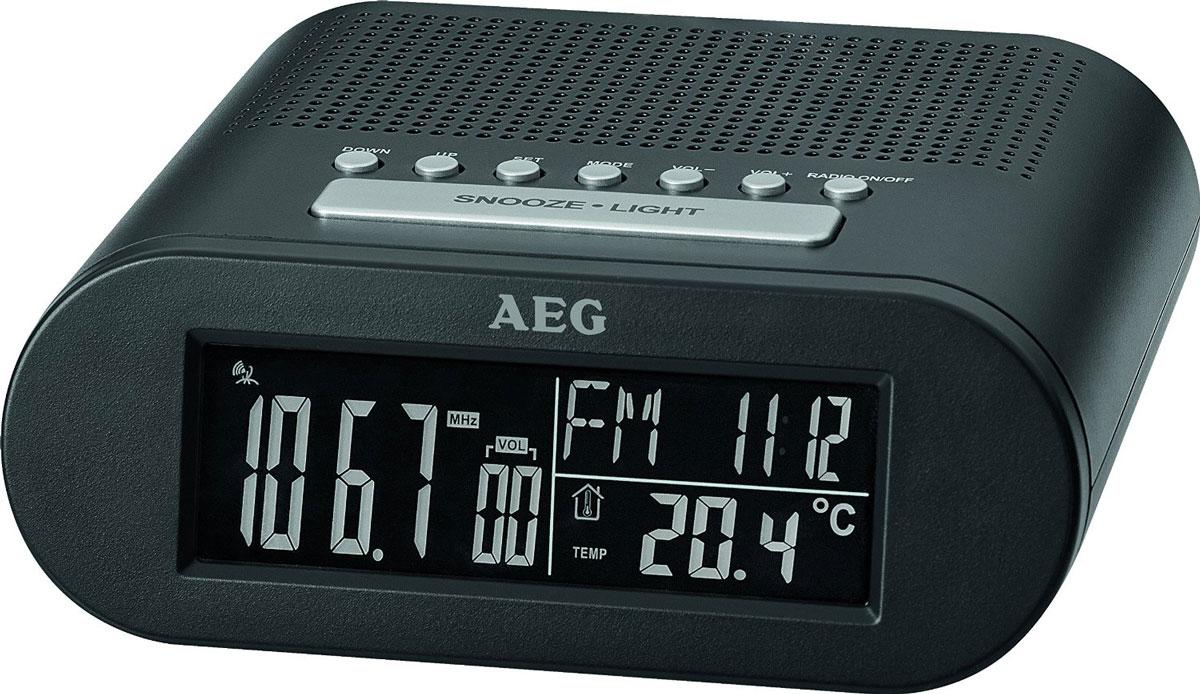 AEG MRC 4145 F, Black радиочасыMRC 4145 F schwarzРадиочасы AEG MRC 4145 F оснащены большим черно-белым LCD-дисплеем (около 10 см) и функцией автоматической синхронизации часов. На дисплее отображаются дата, день недели и текущий месяц; температура, уровень звука, а также частота радиостанции.Будильник: выбор сигнала — радио или будильникЧасы: черно-белый LCD-дисплей (24 часа)