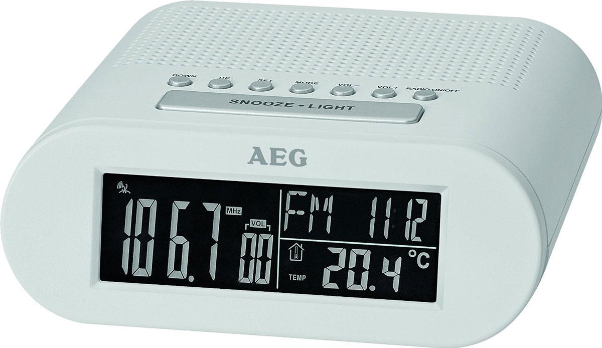 AEG MRC 4145 F, White радиочасыMRC 4145 F weisРадиочасы AEG MRC 4145 F оснащены большим черно-белым LCD-дисплеем (около 10 см) и функцией автоматической синхронизации часов. На дисплее отображаются дата, день недели и текущий месяц; температура, уровень звука, а также частота радиостанции.Будильник: выбор сигнала - радио или будильникЧасы: черно-белый LCD-дисплей (24 часа)