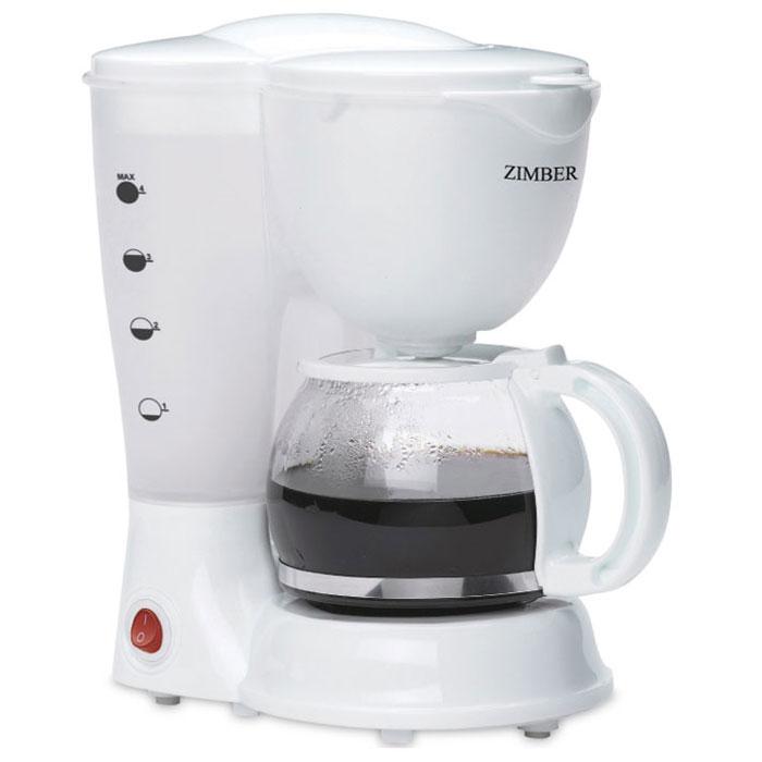 Zimber ZM-11009 кофеваркаZM-11009С помощью капельной кофеварки Zimber ZM-11009 вы сможете приготовить вкусный натуральный кофе. Кофеварка рассчитана на приготовление 625 мл кофе. Световой индикатор позволят отследить работу прибора. Zimber ZM-11009 имеет высококачественный пластиковый корпус и оснащен функцией поддержания тепла.