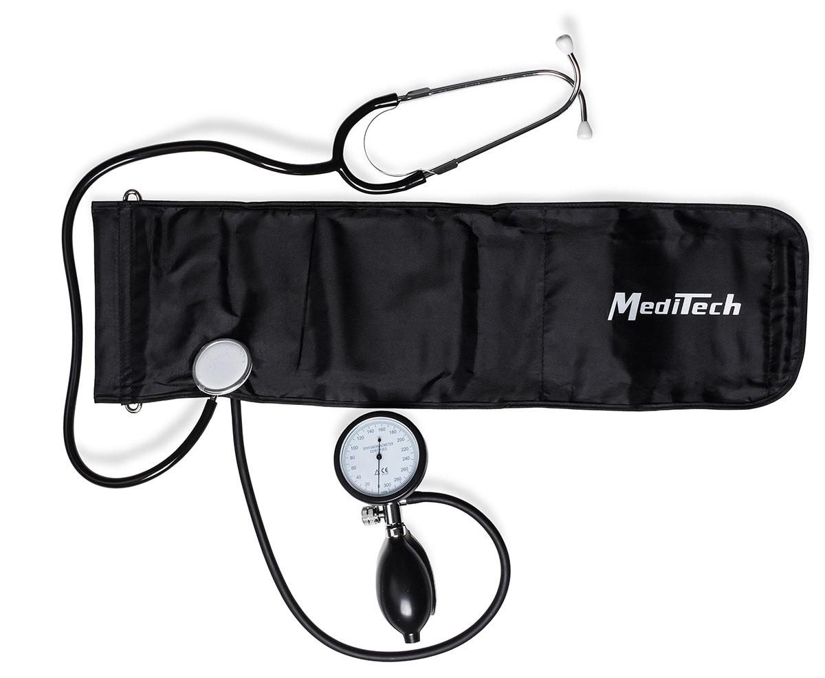 MediTech Механический тонометр Palm со встроенным стетоскопом, объединенным нагнетателем и люминесцентным манометром МТ-25LМТ-25LХарактеристики: Высокая точность измерений; Металлический корпус; Манжета со встроенной головкой стетоскопа; Диапазон измерений давления воздуха в компрессионной манжете 20-300 мм. рт. ст.; Износоустойчивая манжета из высококачественного нейлона; Дополнительно предлагаются манжеты разного размера для новорожденных, детей, подростков, взрослых и набедренная манжета; Размер взрослой манжеты на окружность плеча 254-406 мм.; Цена деления шкалы манометров прибора 2 мм. рт. ст.; Размеры не более 190х115x65 мм.; Масса, не более 0, 464 кг.; Гарантия 1 год.Комплект поставки: объединенный нагнетатель и манометр; манжета компрессионная; манометр мембранный; нагнетатель с клапаном; стетоскоп; руководство по эксплуатации; чехол; упаковочная коробка.Усовершенственная модель тонометра, комплектуется объединенным нагнетателем и манометром (отсутствие большого количества трубок у прибора), имеет увеличенный диаметр манометра со светонакопителем (манометр светится в темноте).