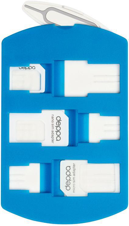 Deppa SimCardадаптерыисистемахранения74001Набор SIM адаптеров Deppa SimCard предоставляет возможность использовать одну SIM-карту на мобильных устройствах разных типов. При помощи адаптера Вы можете преобразовать Nano-SIM в Micro-SIM, либо в стандартную SIM-карту, что позволяет использовать Nano и Micro SIM-карты со всеми мобильными устройствами.