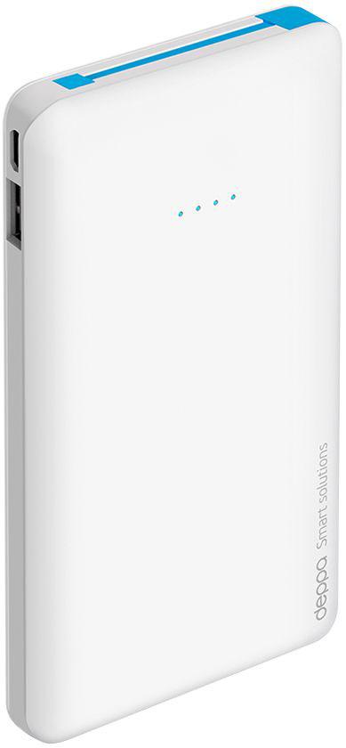 Deppa NRG Slim внешний аккумулятор (10000 мАч)33509Компактный и удобный внешний аккумулятор Deppa NRG Slim в стильном тонком корпусе. Идеальное решение для подзарядки ваших гаджетов каждый день.Надежность и безопасность NRG Slim обеспечивает целый комплекс встроенной защиты высокого уровня. Устройство компактно и эргономично.Внешние аккумуляторы NRG Slim совместимы с любыми цифровыми устройствами с функцией заряда от разъемов micro USB или Apple 8-pin.В комплект аккумулятора входит коннектор Apple 8-pin, находящийся в специальном слоте для хранения. Встроенный micro USB кабель и коннектор позволяют заряжать любые устройства без дополнительных проводов.