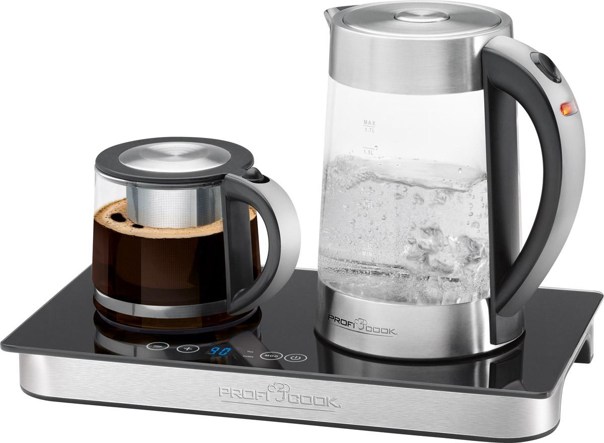 Profi Cook PC-TKS 1056 набор для приготовления чая и кофеPC-TKS 1056Набор для приготовления чая и кофе Profi Cook PC-TKS 1056 состоит из базы, на которую устанавливаются два чайника емкостью 1.2 и 1.7 литра. В большом чайнике Вы можете быстро вскипятить необходимое количество воды, а в маленьком - заварить кофе или чай. Имеется функция автоматической и ручной установки температуры: автоматическая для кофе 85°C и для чая 80°C, ручная настройка в диапазоне 70-90°C с шагом 1°C.