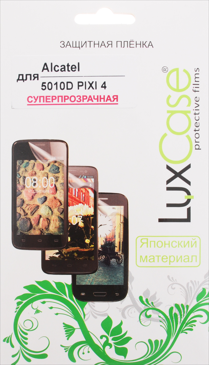 LuxCase защитная пленка для Alcatel 5010D Pixi 4, суперпрозрачная51376Защитная пленка LuxCase для Alcatel OneTouch Pixi 4 (5010D) сохраняет экран смартфона гладким и предотвращает появление на нем царапин и потертостей. Структура пленки позволяет ей плотно удерживаться без помощи клеевых составов и выравнивать поверхность при небольших механических воздействиях. Пленка практически незаметна на экране смартфона и сохраняет все характеристики цветопередачи и чувствительности сенсора.